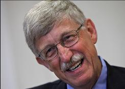 Dr. Francis Collins, a scientist who helped unravel the human genetic code, talks about his role as the newly-confirmed director of the National Institutes of Health, on his first day at work, at NIH headquarters in Bethesda, Md.