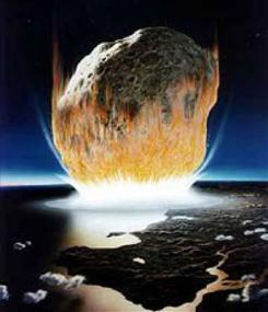 An artist's rendition of an asteroid hitting Earth.