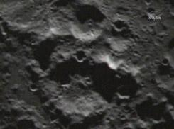 An image taken shortly after the Centaur rocket impacted the moon, from the Lunar Crater Observation and Sensing Satellite.