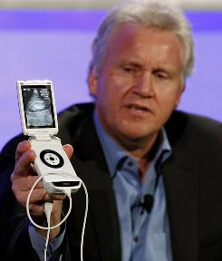GE Chairman and CEO Jeff Immelt unveils GE Healthcare's new Vscan, a pocket-sized ultrasound device, at the Web 2.0 Summit in San Francisco.