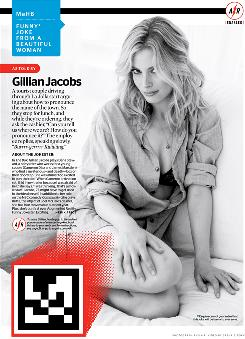 "In this image provided by Hearst Corp., the ""Funny Joke from a Beautiful Woman"" page, featuring actress Gillian Jacobs, from the December issue of Esquire Magazine is shown. The box at the bottom left triggers an on-screen animation when held in front of a webcam."