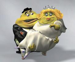 These cartoon character, phelgm and his bride, appear in advertisements for the cold and flu drug Mucinex.