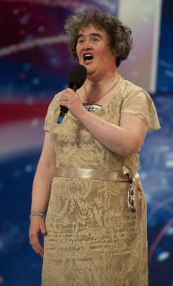 An image obtained from ITV shows Scottish charity worker Susan Boyle appearing on 'Britain's Got Talent.'