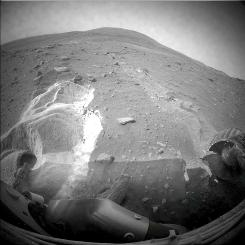 This undated file image provided by NASA shows the surface of Mars as seen from the stuck Mars rover, Spirit.