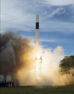 This undated handout photo provided by SpaceX shows the liftoff of the Falcon 1.