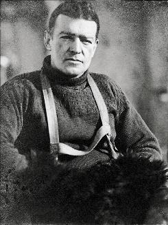"Ernest Shackleton, leader of the expedition aboard the ship ""Endurance.""  The ship was trapped in the ice floes of the Weddell Sea in Antartica during an expedition that lasted from 1914 until the crew was rescued in1916."