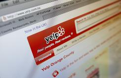 The Yelp website on a computer screen in Los Angeles.