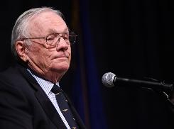 Apollo 11 mission commander Neil Armstrong at a 'Legends of Aerospace' event in New York City last March.