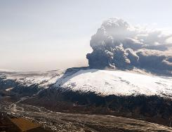 This aerial view shows the Eyjafjallajokull volcano bilowing smoke and ash during an eruption.