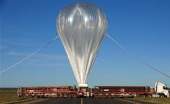 This photo taken on April 16, 2010 shows a giant NASA science balloon being inflated at the launch site near Alice Springs. The same balloon crashed during take-off Thursday, smashing its multi-million dollar payload.