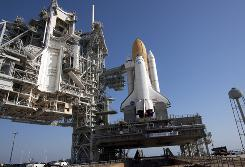 Space shuttle Atlantis sits on the launch pad at the Kennedy Space Center.
