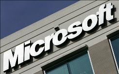 This December 27 2005 file photo shows the logo for Microsoft at their office in Herdon,Virginia. Microsoft is promoting the use of their energy efficiency testing program, Hohm.