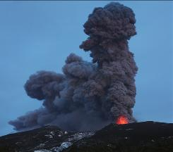 Eyjafjallajokul in Iceland erupts at night on May 9, 2010 leaving behind a large ashcloud.