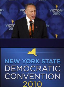 Sen. Chuck Schumer, D-N.Y., addresses  the New York State Democratic Committee State Convention on May 26, 2010. Recently, Schumer and Sen. John Cornyn, R-T.X., have introduced legislation requiring consumers to produce identification before buying prepaid cellphones.