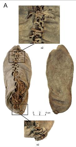 Provided by the Department of Archaeology University College Cork, Cork Ireland, this photo shows a well preserved and complete shoe that was recovered at the base of a Chalcolithic pit in the cave in Armenia.