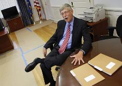 Dr. Francis Collins at NIH headquarters in Bethesda, Md. Collins is facing a difficult decision on keeping a number of stem cell lines.