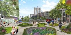 This artist's rendering provided by the Center for Architecture and created by the architect team of Terreform and Michael Sorkin Studio shows their vision of what an area of New York City, near the Brooklyn Bridge, might look like in 20 years if the city became more green-friendly and less car dependent. It is from the exhibit, &quot;Our Cities Ourselves.&quot;