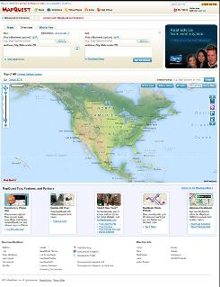 This website image provided by MapQuest shows the current look the company's home page. MapQuest is testing a cleaner, simpler look with features that it hopes makes it easier for visitors to plan a road trip.