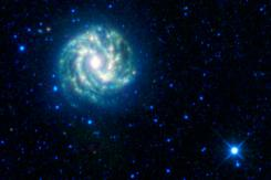 This image provided by the NASA/JPL-Caltech/WISE Team shows the Wide-field Infrared Survey Explorer (WISE) view of the nearby galaxy Messier 83. It is sometimes referred to as the southern Pinwheel galaxy.