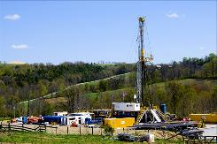 In this April 23, 2010 photo, a Chesapeake Energy natural gas well site is seen near Burlington, Pa., in Bradford County. As gas drillers swarm to Marcellus Shale regions, the U.S. Environmental Protection Agency is taking a new look at the controversial fracking technique, currently exempt from federal regulation.