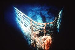 """In this photo provided by Ralph White, the bow of the Titanic at rest on the bottom of the North Atlantic, about 400 miles southeast of Newfoundland. A team of scientists will launch an expedition to the Titanic on Aug. 18, 2010, to assess the deteriorating condition of the world's most famous shipwreck and create a detailed three-dimensional map that will """"virtually raise the Titanic"""" for the public."""