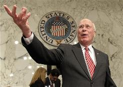 "In this June 28, 2010 photo, Senate Judiciary Committee Chairman Sen. Patrick Leahy, D-Vt., gestures on Capitol Hill in Washington. The administration's proposal to change the Electronic Communications Privacy Act ""raises serious privacy and civil liberties concerns,"" Leahy said."