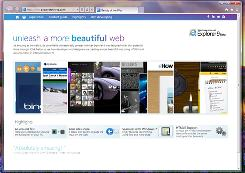 A screen shot of the new Internet Explorer 9.