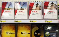 Boxes of security software are displayed a Target store August 19, 2010 in Colma, California.