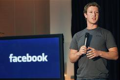 "Facebook CEO Mark Zuckerberg talks about the social network site's new localization services called ""Places"" during a news conference in Palo Alto, Calif."