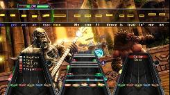 In 'Guitar Hero: Warriors of Rock,' you play along with rock songs and are scored based on your performance.
