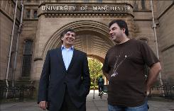 Professor Andre Geim, left, and Dr. Konstantin Novoselov are seen outside Manchester University in Manchester, England. The scientists shared the Nobel Prize in physics on Tuesday for 'groundbreaking experiments' with the thinnest, strongest material known to mankind.