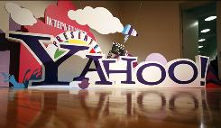 This file photo taken on June 7, 2010, shows a sign for Yahoo! in New York.