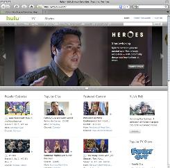 The home page of free online TV site Hulu.