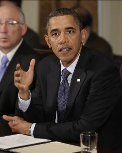 Barack Obama speaks during a cabinet meeting at the White House on November 4, 2010 in Washington, DC.