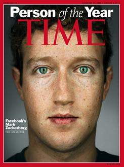 "The cover of Time magazine's 2010 ""Person of the Year"" issue, featuring Facebook founder and CEO Mark Zuckerberg."