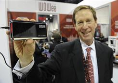 Entrepreneur Scott Friedman, CEO of SoulR Products, shown at the International Consumer Electronics Show with his company's Wowee One speaker for portable devices.