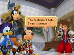 In 'Kingdom Hearts Re:coded,' you play as Sora, the spiky-haired protagonist from past Square Enix games, who wields the Keyblade weapon, which looks like an enormous sword in the shape of a key.