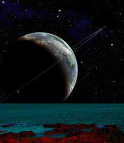 An artist's depiction of an earth-like planet seen from its moon.
