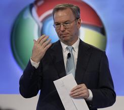 Google CEO Eric Schmidt talks about the Google Chrome operating system in San Francisco last December. Schmidt recently announced he would step down as the company's CEO.