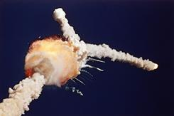 The space shuttle Challenger breaks up shortly after lifting off from Kennedy Space Center on Jan. 28, 1986.