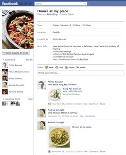 Foodily, a new search engine for recipes and ingredients, also lets users create events on Facebook to make planning for parties and dinners easier.