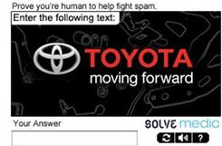 Solve Media's ad for Toyota also functions as a security measure for the website where the ad appears.