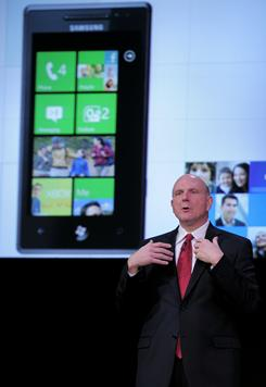 Microsoft CEO Steve Ballmer speaks at Mobile World Congress in Barcelona, Spain.
