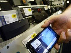 Any smartphone barcode scanner app or the Best Buy app will scan the new smartphone bar codes on items at Best Buy.