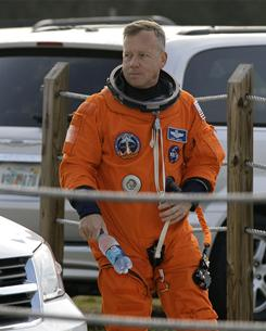 Commander Steve Lindsey at Kennedy Space Center on Monday. The space shuttle Discovery is scheduled to lift off Thursday on an 11-day mission to the international space station.