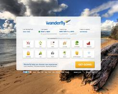 The home page for travel site Wanderfly.