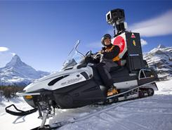 The Google Street View Snow Mobile takes pictures of ski slopes in front of the Matterhorn mountain in Zermatt, Switzerland.