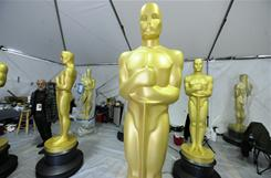 Oscar statues are seen stored in a tent during preparations for the 83rd annual Academy Awards in Hollywood, California.