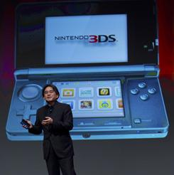 In this photo provided by Nintendo, Nintendo CEO Satoru Iwata showcases the 3DS at an event in San Francisco on Wednesday. It  launches in the U.S. on March 27.