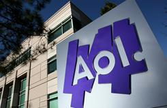 The AOL logo is posted on a sign in front of its offices in Palo Alto, California.